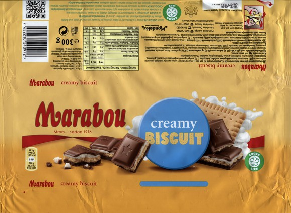 Marabou, milk chocolate with creamy biscuit, 300g, 10.01.2017, Mondelez Sverige, Sweden