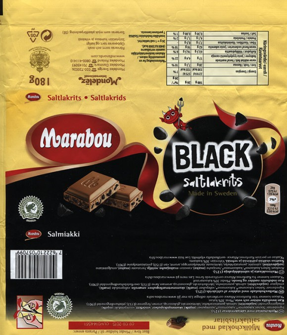 Marabou, milk chocolate with salmiac pieces, 180g, 09.09.2014, Mondelez International (Sverige), Sweden