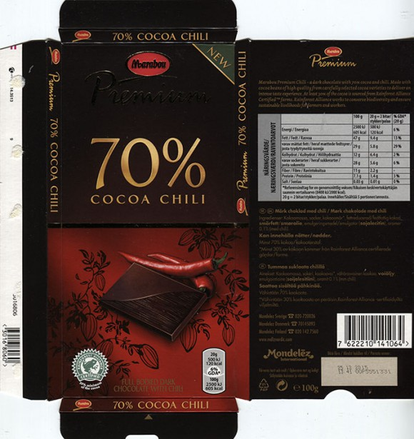 Marabou, Premium, dark chocolate wth chilli, 100g, 25.12.2014, Mondelez International (Sverige), Sweden