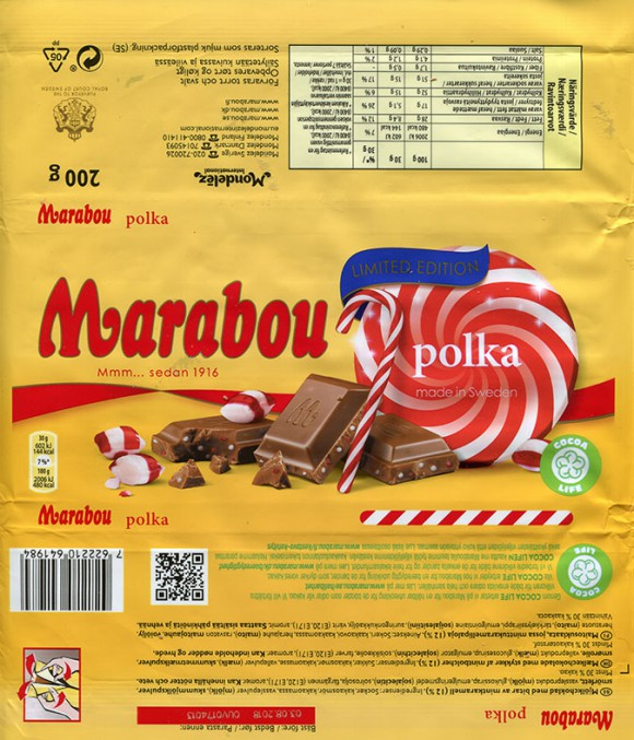Marabou, polka, milk chocolate with mint caramellized pieces, 200g, 03.08.2017, Mondelez International (Sverige), Sweden