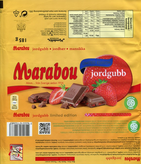 Marabou, jordgubb, limited edition, milk chocolate with strawberries, 185g, 23.12.2016, Mondelez International (Sverige), Sweden