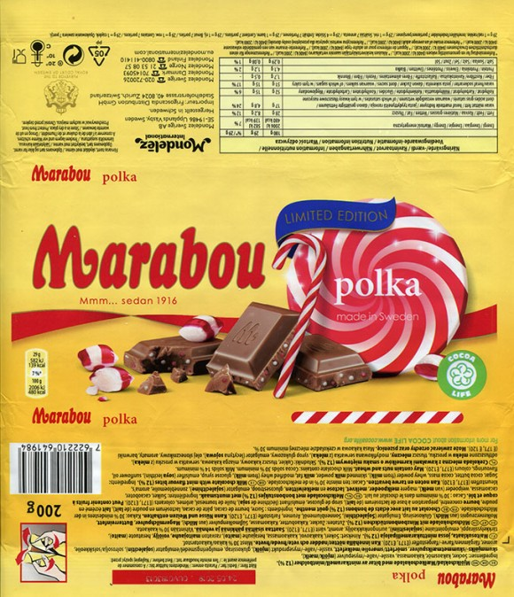 Marabou, polka, milk chocolate with mint flavour bites, 200g, 24.05.2018, Mondelez International (Sverige), Sweden