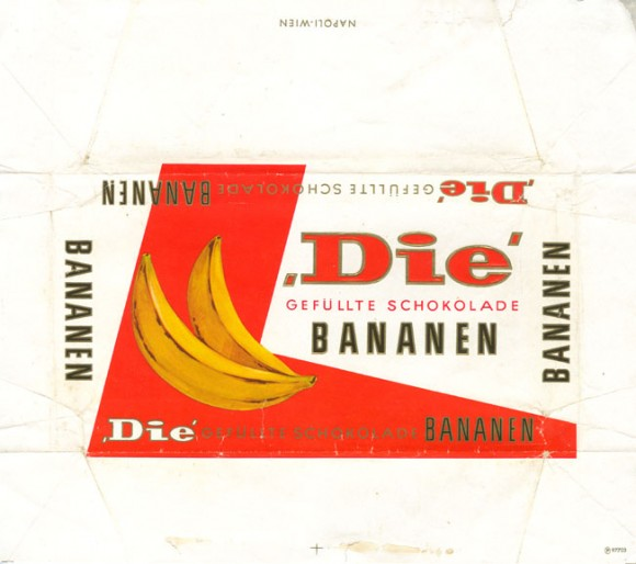 Die, milk chocolate filled with banana flavoured, 100g, about 1970, Napoli, Wien, Austria