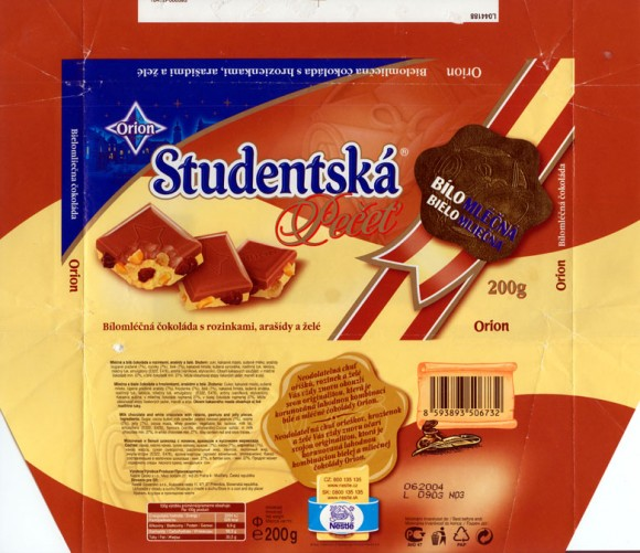 Milk chocolate and white chocolate with raisins, peanuts and jelly pieces, 200g, 06.2003