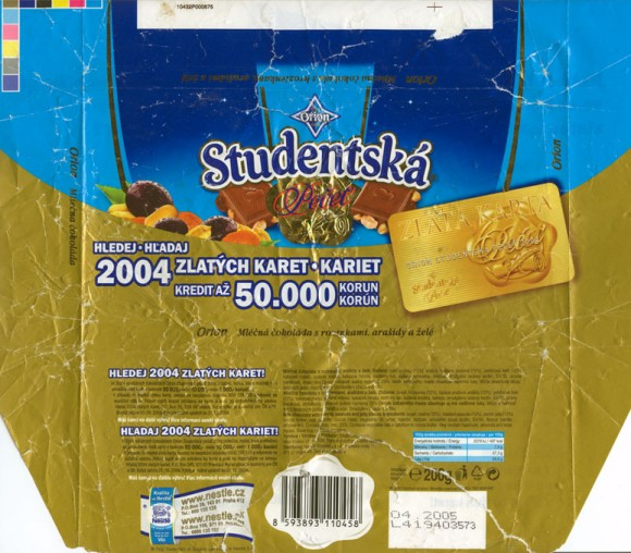 Milk chocolate and white chocolate with raisins, peanuts and jelly pieces, 200g, 04.2004
