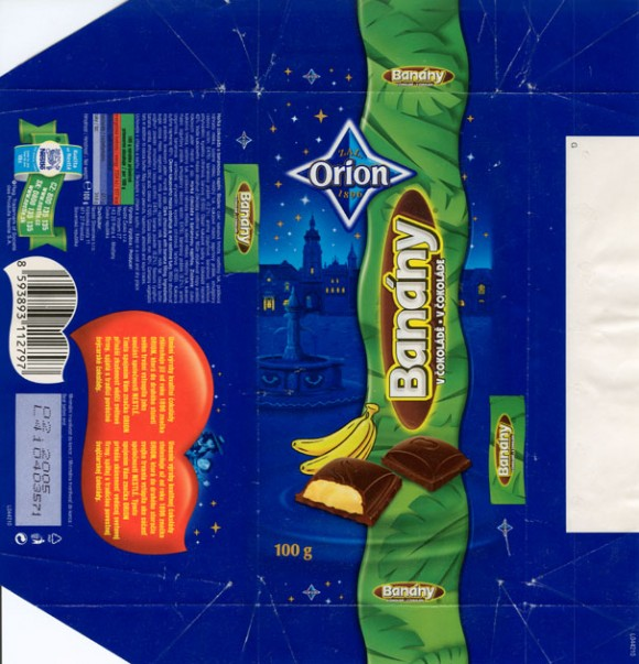 Banany v cokolade, dark chocolate with banana filling , 100g, 02.2004,  Nestle Orion, Praha, Czech Republic