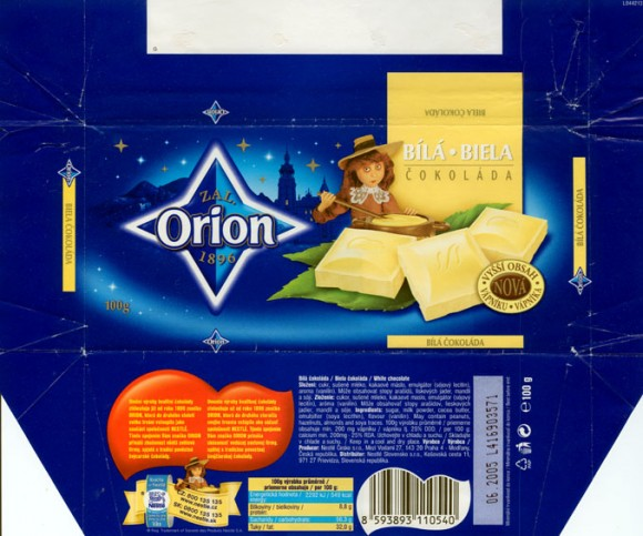 White chocolate, 100g, 06.2004,  Nestle Orion, Praha, Czech Republic