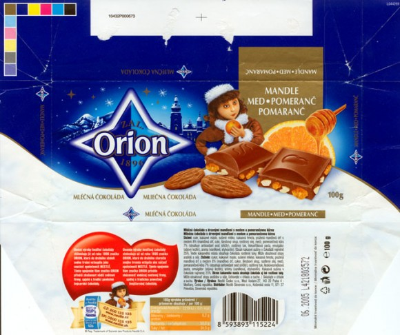 Milk chocolate, 100g, 06.2004,  Nestle Orion, Praha, Czech Republic