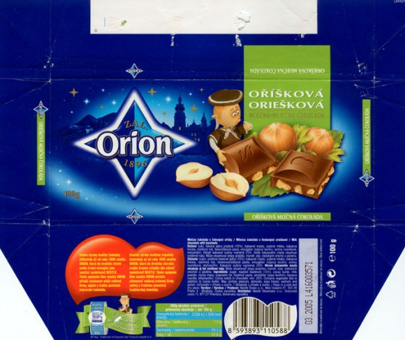 Milk chocolate with hazelnuts, 100g, 03.2004,  Nestle Orion, Praha, Czech Republic
