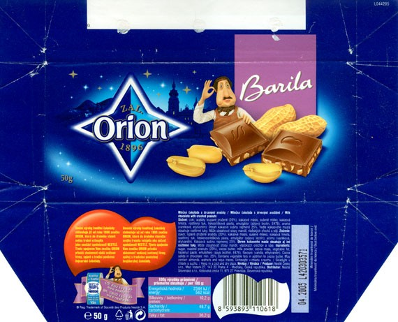 Barila, milk chocolate with crushed peanuts, 50g, 04.2004,  Nestle Orion, Praha, Czech Republic