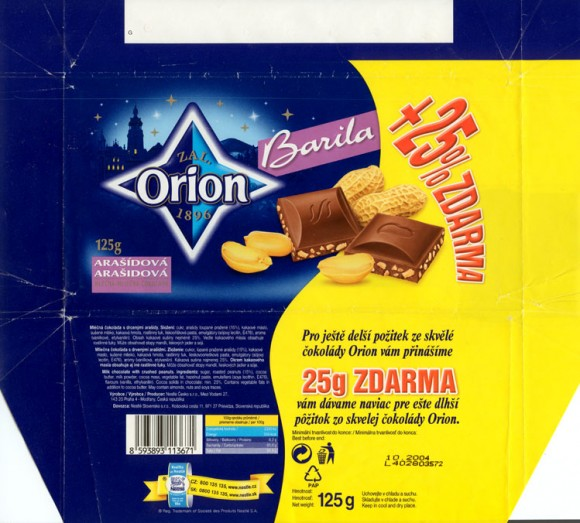 Barila, milk chocolate with crushed peanuts, 125g, 10.2004,  Nestle Orion, Praha, Czech Republic