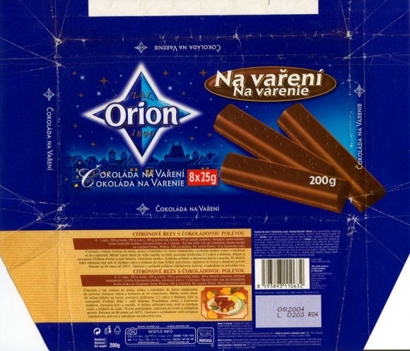 Na vareni, cooking chocolate, 200g, 08.2003,  Nestle Orion, Praha, Czech Republic