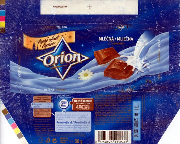 Milk chocolate, 50g, 04.2006, Nestle Orion, Praha, Czech Republic