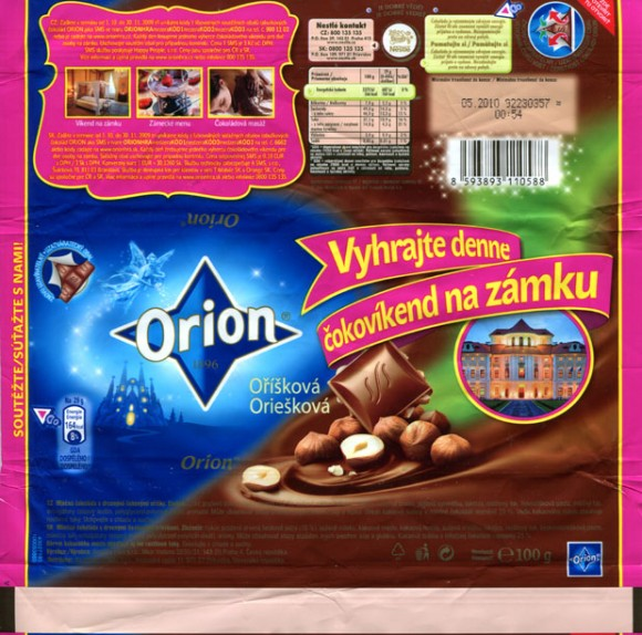 Orion, milk chocolate with nuts, 100g, 05.2009, Nestle Cesko s.r.o, Praha, Czech Republic