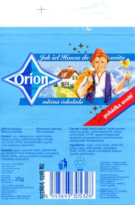 Orion, milk chocolate, 25g, 02.2000, Nestle Cokoladovny, Praha, Czech Republic