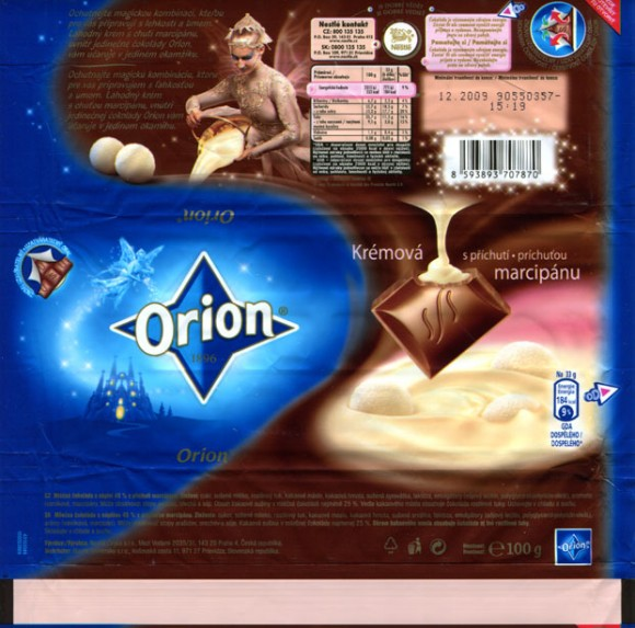 Orion, milk chocolate marzipan filling, 100g, 12.2008, Cokoladovny a.s, Praha, Czech Republic