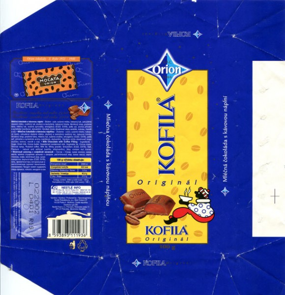 Orion, Kofila, milk chocolate with coffee filling, 100g, 02.2001, Nestle Cokoladovny a.s, Praha, Czech Republic