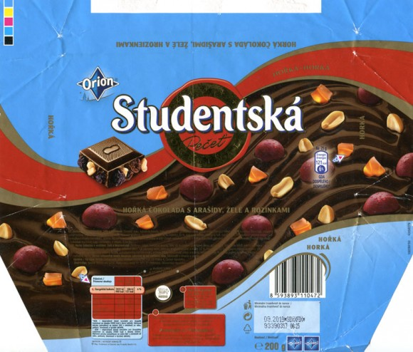 Studentska pecet, dark chocolate with nuts, raisins and jelly, 200g, 09.2009, Nestle Cesko s.r.o, Praha, Czech Republic