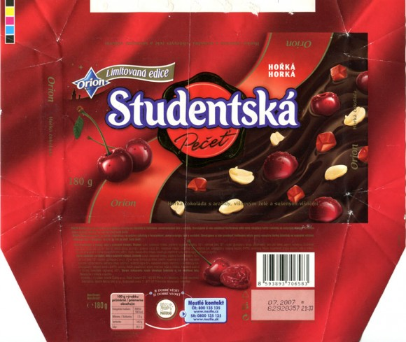 Studentska pecet, dark chocolate with nuts, dried cherries and jelly, 200g, 07.2006, Nestle Cesko s.r.o, Praha, Czech Republic