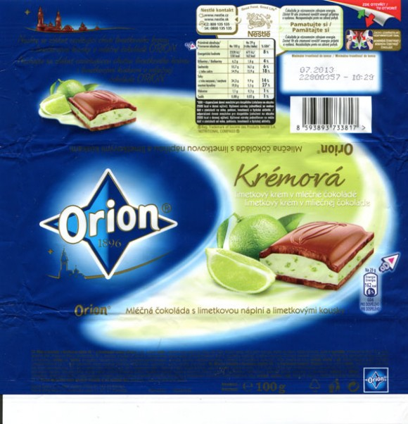 Milk chocolate with nuts cream and lime filing, 100g, 07.2012, Nestle Cesko s.r.o, Praha, Czech Republic