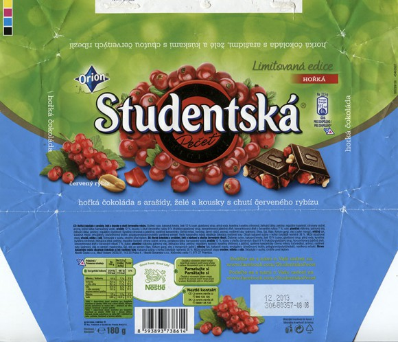 Studentska Pecet, dark chocolate with nuts and red currant pieces, 180g, 12.2012, Nestle Cesko s.r.o, Praha, Czech Republic