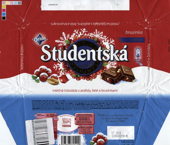 Studentska Pecet, milk chocolate with nuts and berries, 180g, 07.2013, Nestle Cesko s.r.o, Praha, Czech Republic