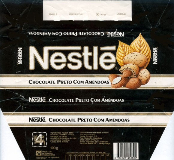 Nestle, milk chocolate with almonds, 100g, 05.1992, Nestle Portugal, Linda-A-Velha, Portugal