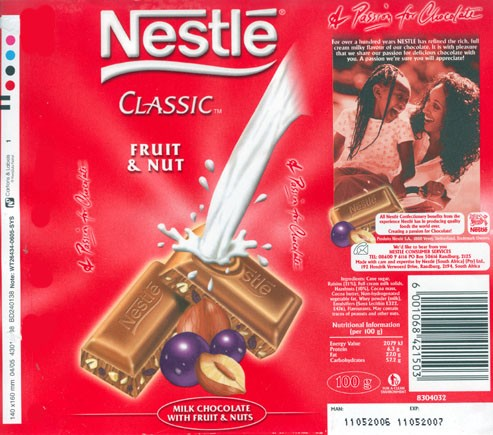 Milk chocolate with fruit and nuts, 100g, 11.05.2006, Nestle South Africa Ltd, Randburg, South Africa