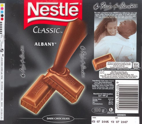 Albany, dark chocolate, 100g, 13.07.2005, Nestle South Africa Ltd, Randburg, South Africa