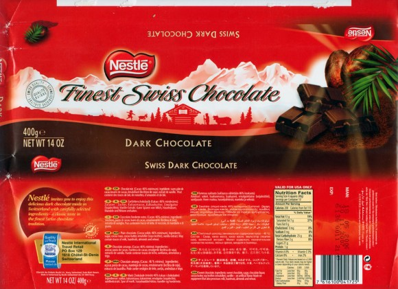 Swiss dark chocolate, 400g, 18.05.2006, Nestle Switzerland Ltd, Vevey, Switzerland