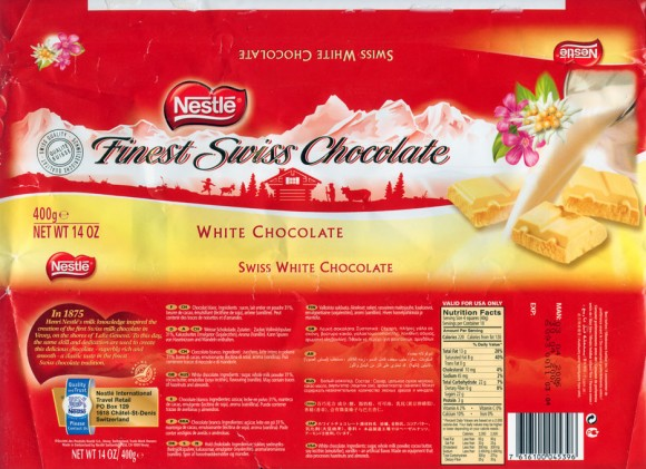 Swiss white chocolate, 400g, 03.04.2006, Nestle Switzerland Ltd, Vevey, Switzerland