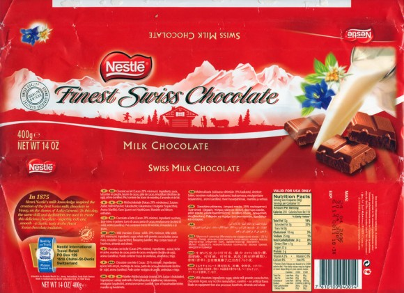 Swiss milk chocolate, 400g, 24.04.2006, Nestle Switzerland Ltd, Vevey, Switzerland
