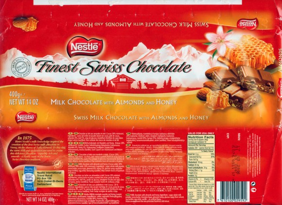 Swiss milk chocolate with almonds and honey, 400g, 17.03.2006, Nestle Switzerland Ltd, Vevey, Switzerland