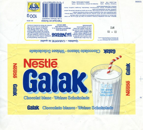 Galak, white chocolate, 100g, 03.1987, Nestle S.A, Vevey, Switzerland