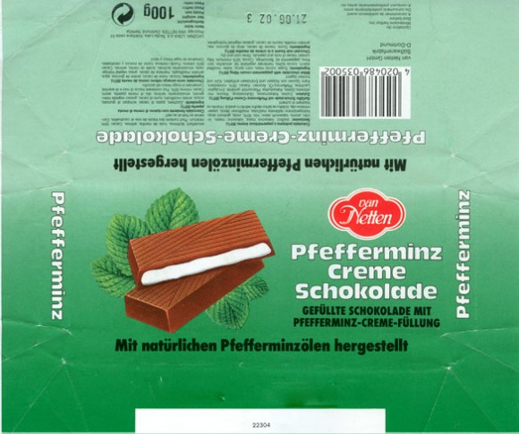 Bitter chocolate with peppermint-cream filling, 100g, 21.06.2001, van Netten GmbH Susswarenfabrik D-Dortmund, Germany
