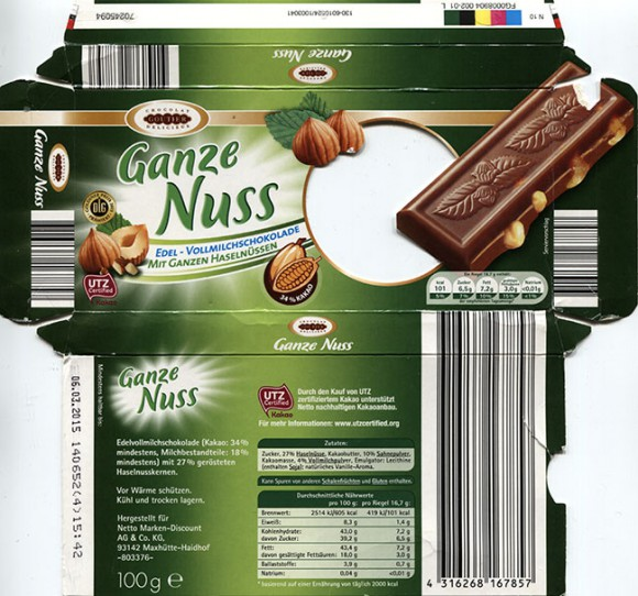Ganze Nuss, milk chocolate with hazelnuts, 100g, 06.03.2014, made for Netto Marken-Discount AG & Co. KG, Maxhutte-Haidhof, Germany