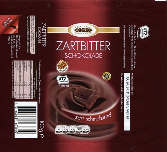 Chocolat Goutier Delicieux, dark chocolate, 100g, 09.10.2014, made for Netto Marken-Discount AG & Co. KG, Maxhutte-Haidhof, Germany