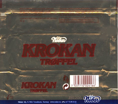 Krokan, croquant truffle covered with dark chocolate, 42g, 18.12.2005, Nidar AS, Trondheim, Norway