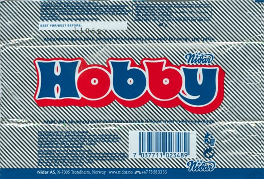 Hobby, milk chocolate with jam filling, 48g, 11.06.2006, Nidar AS, Trondheim, Norway