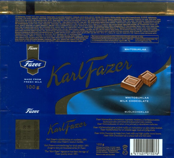 KarlFazer, milk chocolate, 100g, 27.11.2008, Cloetta Fazer Chocolate Ltd, Helsinki, Finland