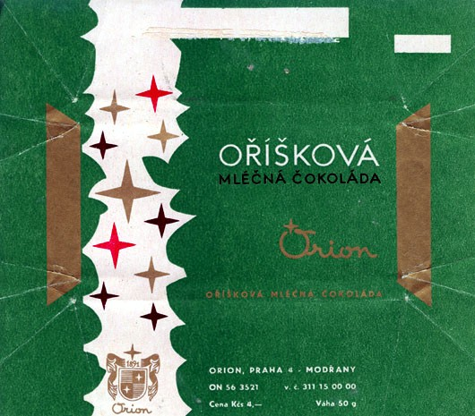 Milk chocolate with nuts, 50g, about 1970, orion, Praha, Czech Republic (CZECHOSLOVAKIA)