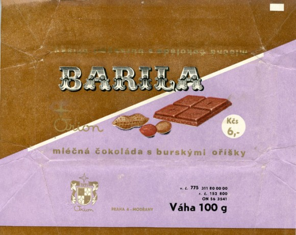 Barila, milk chocolate with nuts, 100g, 1970, Orion, Praha, Czech Republic (CZECHOSLOVAKIA)