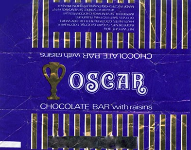 Oscar, chocolate bar with raisins, 40g, 1980, Orion Modrany, Praha, Czech Republic (CZECHOSLOVAKIA)