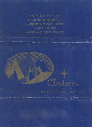 Milk chocolate, 50g, 1965, Orion Modrany, Praha, Czech Republic (CZECHOSLOVAKIA)