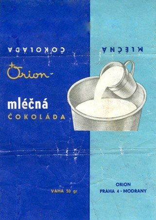 Milk chocolate, 50g, 1970, Orion Modrany, Praha, Czech Republic (CZECHOSLOVAKIA)