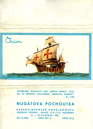 """Santa Maria"", milk chocolate, 50g, 1970, Orion Modrany, Praha, Czech Republic (CZECHOSLOVAKIA)"