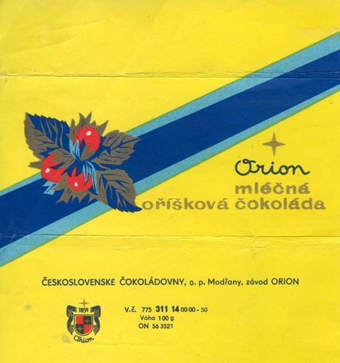 Milk chocolate with nuts, 100g, 1970, Orion Modrany, Praha, Czech Republic (CZECHOSLOVAKIA)