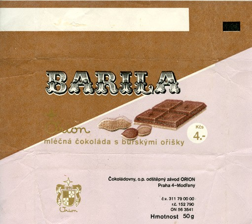 Milk chocolate with nuts, 50g, 1970, Orion Modrany, Praha, Czech Republic (CZECHOSLOVAKIA)