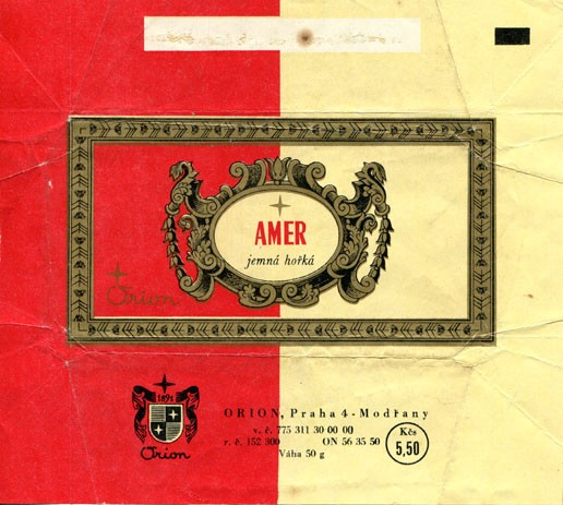 Amer, dark chocolate, 50g, about 1975, Orion Modrany, Praha, Czech Republic (CZECHOSLOVAKIA)
