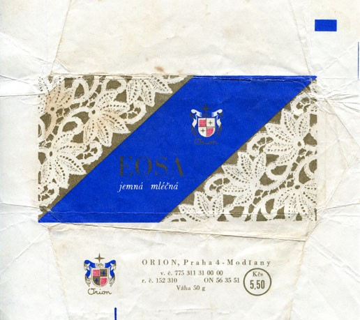 Eosa, milk chocolate, 50g, about 1975, Orion Modrany, Praha, Czech Republic (CZECHOSLOVAKIA)